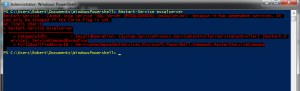 PowerShell service restart error